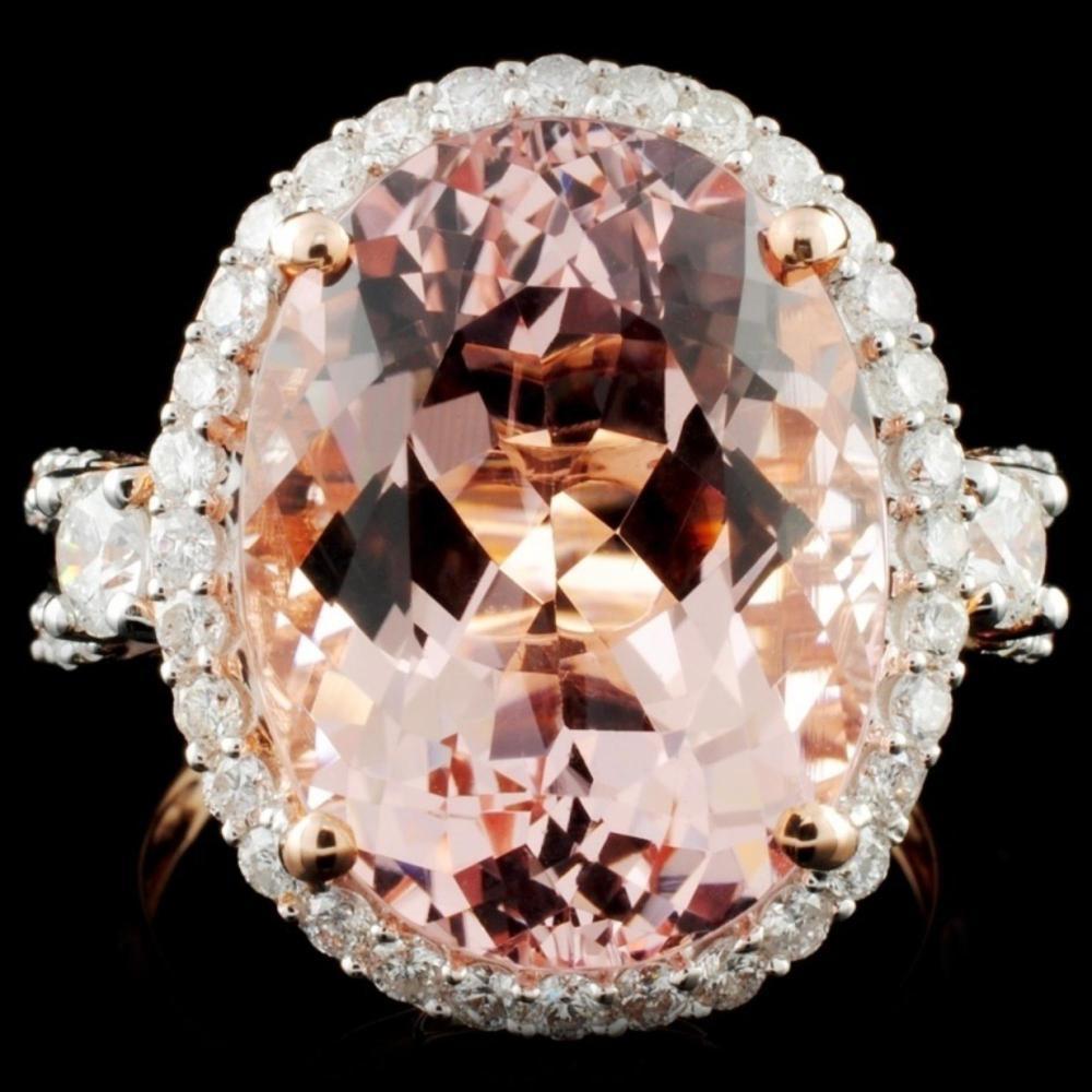 14K Rose Gold 10.26ct Morganite & 1.00ct Diamond R