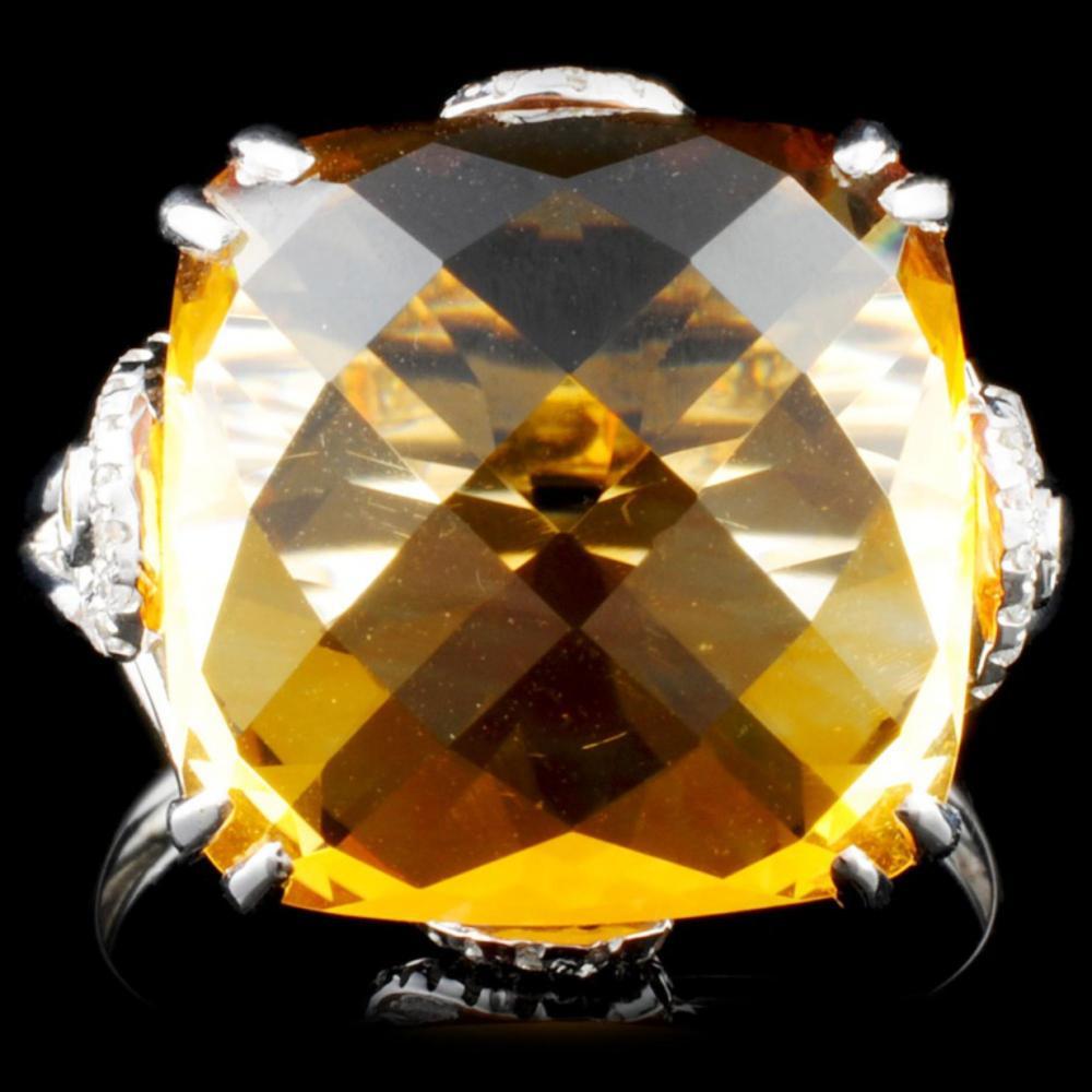 18K Gold 14.61ct Citrine & 0.19ctw Diamond Ring