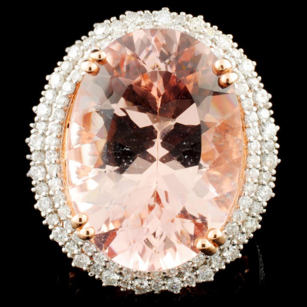 14K Rose Gold 19.64ct Morganite & 1.29ctw Diamond