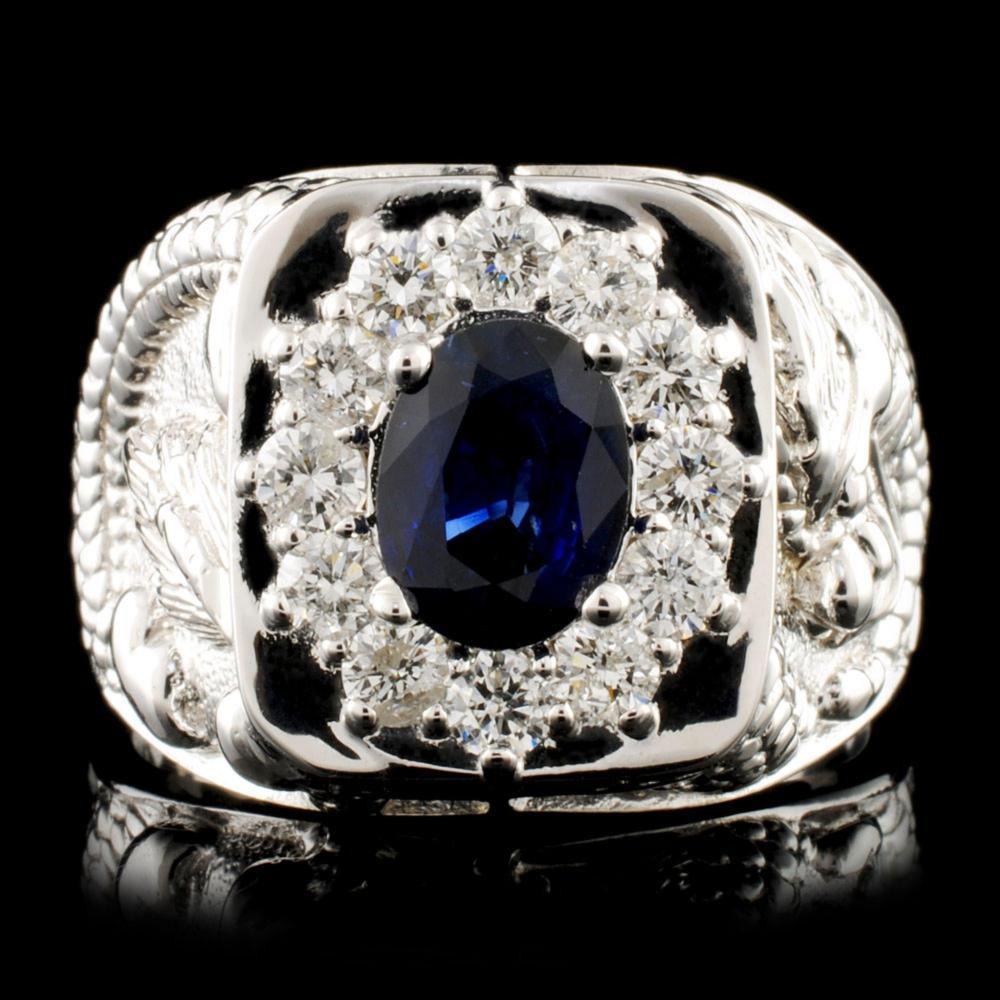 14K Gold 2.00ct Sapphire & 0.90ctw Diamond Ring