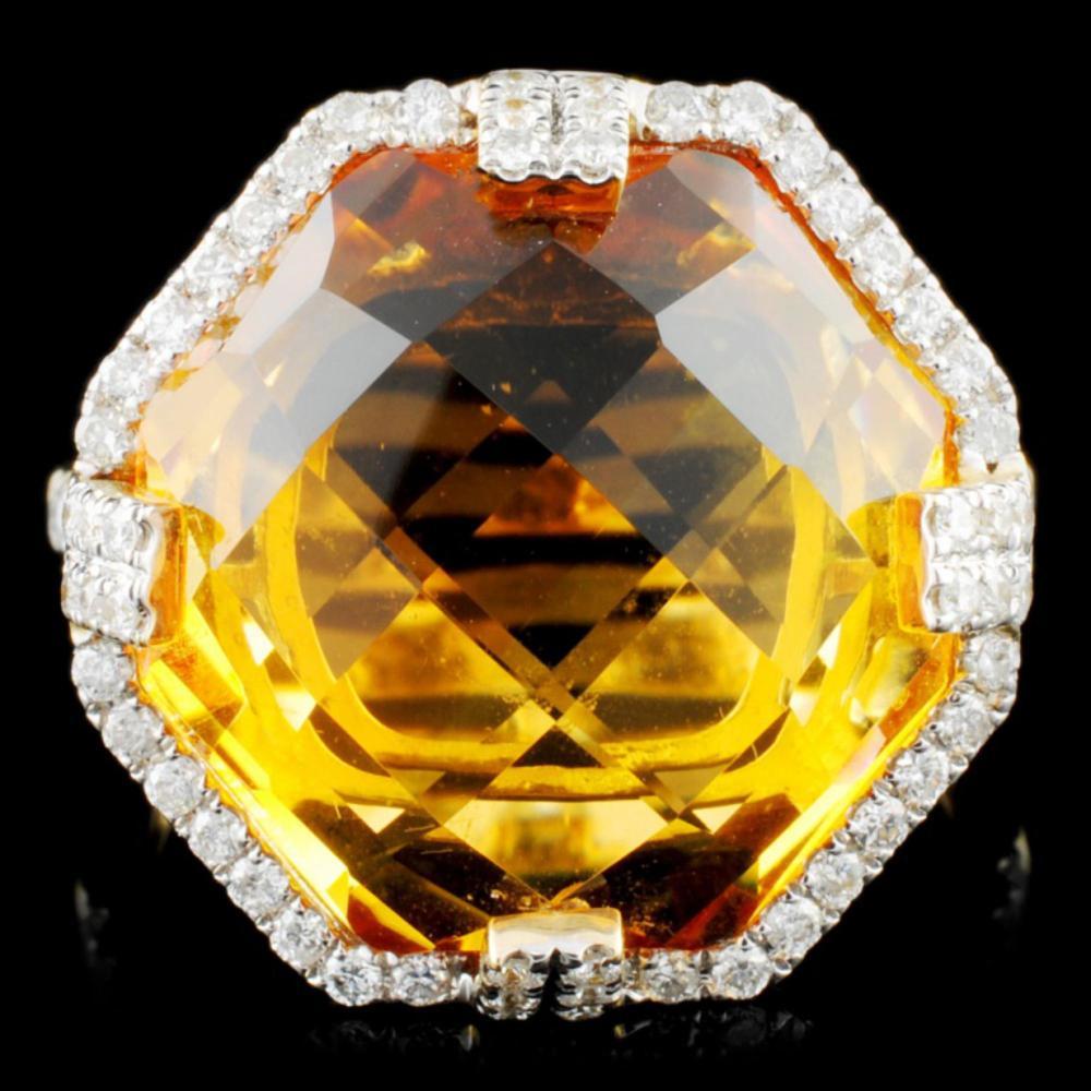 14K Gold 14.51ct Citrine & 0.47ctw Diamond Ring