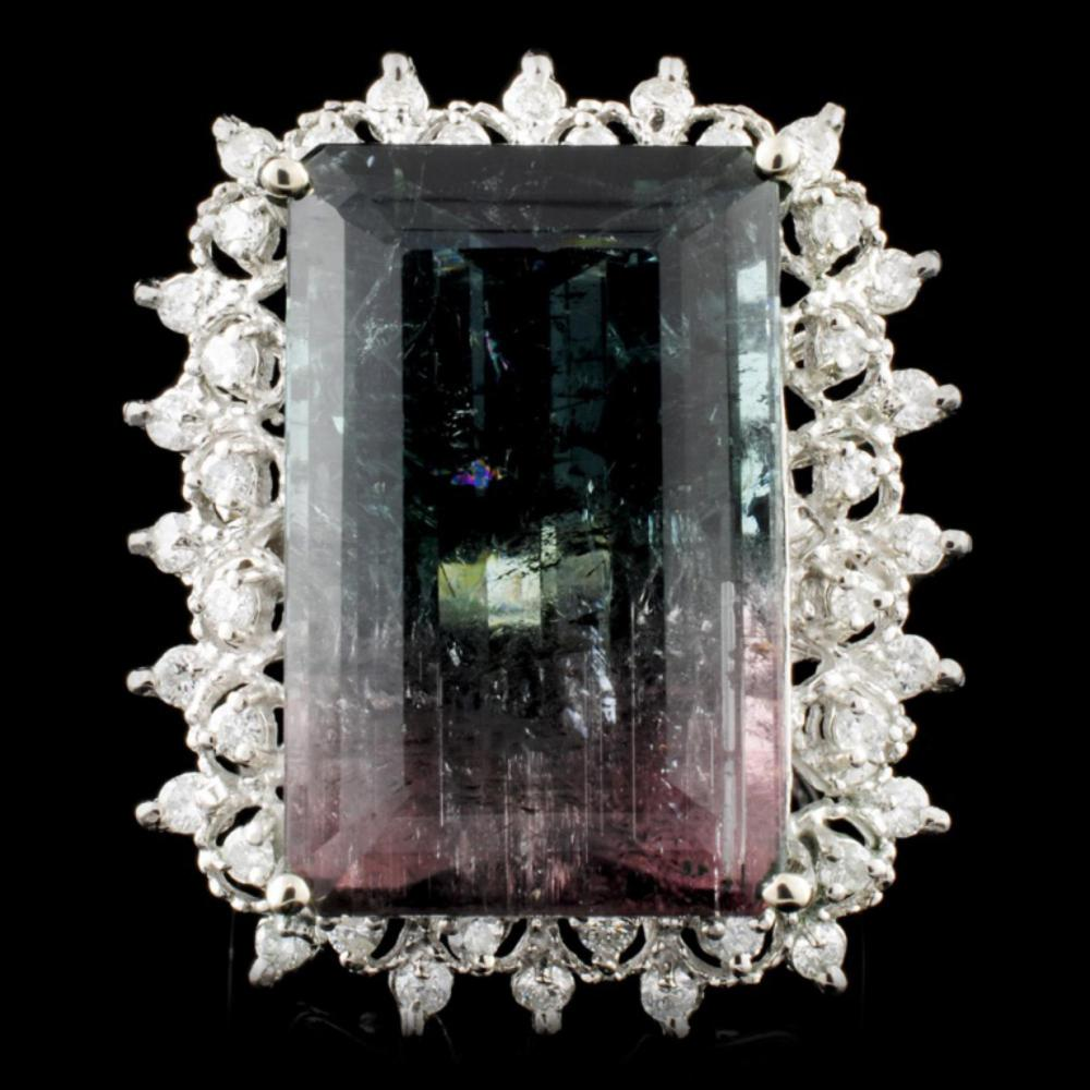 14K Gold 19.87ct Tourmaline & 0.51ctw Diamond Ring