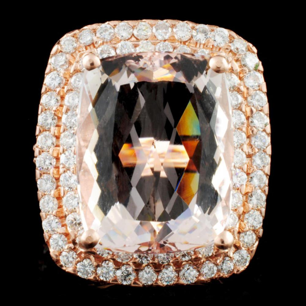 14K Gold 16.51ct Morganite & 2.05ctw Diamond Ring
