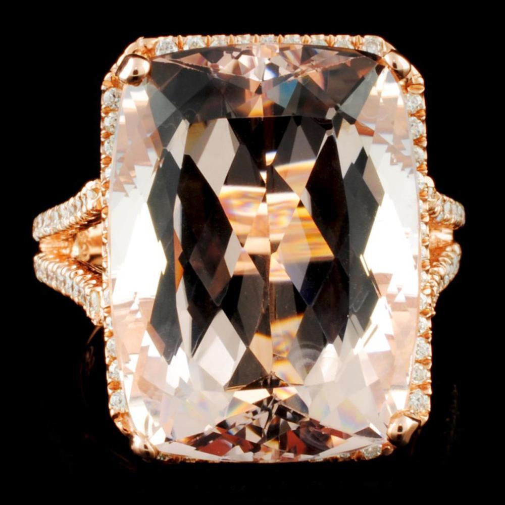 14K Gold 19ct Morganite & 0.50ctw Diamond Ring