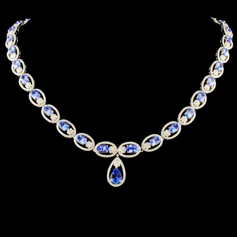 14K Gold 16.85ct Tanzanite & 5.93ctw Diamond Neckl