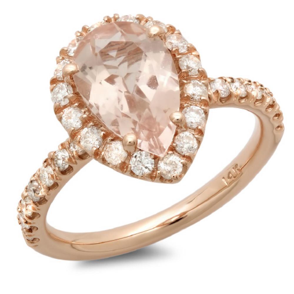 14K Gold 2.00ct Morganite & 0.65ct Diamond Ring