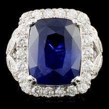 *GIA 18K Gold 13.40ct Sapphire & 1.57ctw Diam Ring