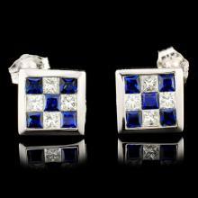 18K Gold 0.83ctw Sapphire & 0.53ctw Diamond Earrin