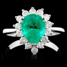 18K White Gold 1.33ct Emerald & 0.44ct Diamond Rin
