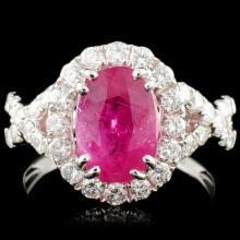 18K Gold 2.81ct Ruby & 1.00cw Diamond Ring