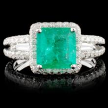 18K White Gold 1.24ct Emerald & 1.30ct Diamond Rin