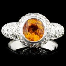 14K Gold 2.10ct Sapphire & 1.40ct Diamond Ring