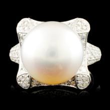 14K Gold 13.00MM Pearl & 1.45ctw Diamond Ring