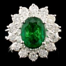 14K Gold 1.60ct Emerald & 1.45ctw Diamond Ring