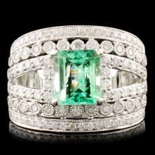 14K Gold 1.54ct Emerald & 1.02ctw Diamond Ring