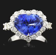 18K White Gold 4.08ct Sapphire & 1.39ct Diamond Ri