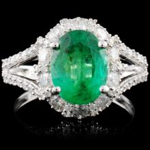18K White Gold 2.25ct Emerald & 1.17ctw Diamond Ri