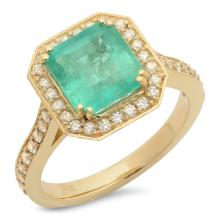14K Gold 3.00ct Emerald & 0.50ct Diamond Ring