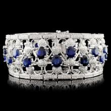 14K Gold 20.92ct Sapphire & 3.76ctw Diamond Bracel