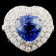 18K Gold 4.57ct Sapphire & 1.82ctw Diamond Ring