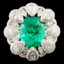 18K Gold 4.83ct Emerald & 2.02ctw Diamond Ring