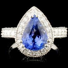 18K Gold 3.58ct Sapphire & 1.79ctw Diamond Ring