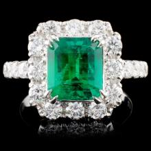 18K Gold 2.39ct Emerald & 1.43ct Diamond Ring