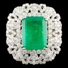 18K Gold 2.19ct Emerald & 4.81ctw Diamond Ring