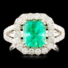 18K Gold 2.14ct Emerald & 1.25ctw Diamond Ring