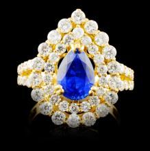 18K Gold 2.18ct Sapphire & 1.91ctw Diamond Ring