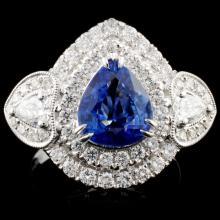18K Gold 2.04ct Sapphire & 1.28ct Diamond Ring