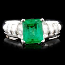 14K Gold 1.25ct Emerald & 0.50ctw Diamond Ring