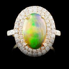 14K Gold 2.60ct Opal & 1.22ctw Diamond Ring