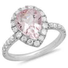 14K Gold 2.50ct Morganite & 0.65ct Diamond Ring