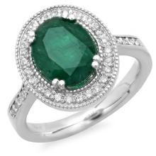 14K Gold 2.50ct Emerald & 0.35ct Diamond Ring
