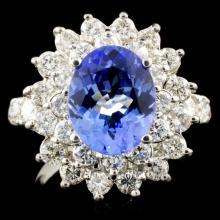 14K Gold 2.51ct Tanzanite & 1.64ctw Diamond Ring