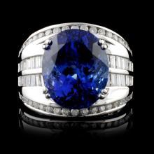 18K Gold 10.28ct Tanzanite & 1.56ctw Diamond Ring