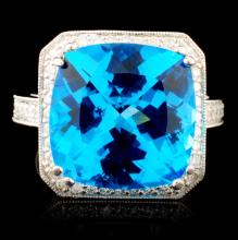 18K Gold 10.36ctw Topaz & 0.98ctw Diamond Ring