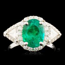 18K Gold 1.96ct Emerald & 0.95ctw Diamond Ring