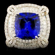 18K Gold 9.30ct Tanzanite & 3.13ctw Diamond Ring
