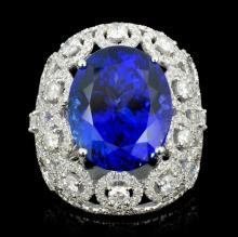 18K Gold 15.49ct Tanzanite & 2.68ct Diamond Ring