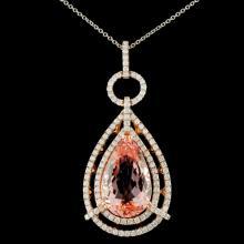 14K Gold 8.50ct Morganite & 1.32ctw Diamond Pendan