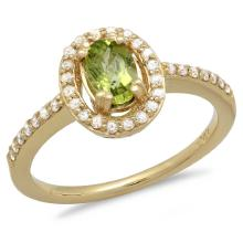 14K Gold 1.00ct Peridot & 0.25ct Diamond Ring