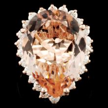 14K Gold 8.50ct Morganite & 0.86ctw Diamond Ring