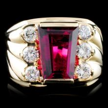14K Gold 5.03ct Rubellite & 0.98ctw Diamond Ring