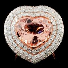 14K Gold 6.34ct Morganite & 2.17ctw Diamond Ring