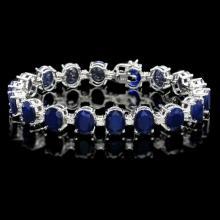 `14k Gold 40ct Sapphire 1.35ct Diamond Bracelet