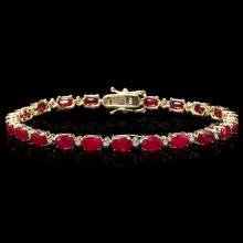 `14k Gold 13ct Ruby 0.55ct Diamond Bracelet