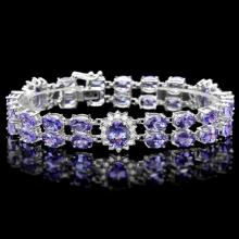 `14k Gold 29ct Tanzanite 1.40ct Diamond Bracelet