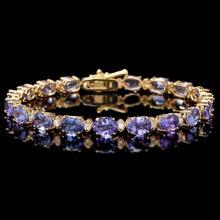 `14k Gold 17ct Tanzanite 0.80ct Diamond Bracelet